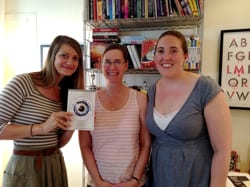 Elizabeth Clark, Caragh O'Brien, and Kate Jacobs in Beth's office, July 8, 2014