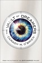 An eye image of a black pupil and fiery iris are encircled by the title and author's name and a silver background.