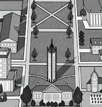 Drawing of the clock tower from the map of the Fortge School