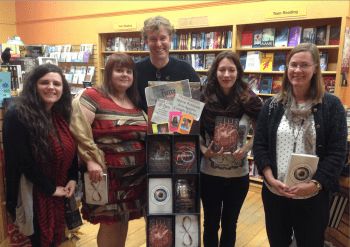 Stefanie Kiper Schmidt, Ann Aguirre, Dan Chartrand, Marie Rutkoski, and Caragh O'Brien at Water Street Bookstore, Exeter, NH
