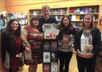 Stefanie Kiper Schmidt, Ann Aguirre, Dan Chartrand, Marie Rutkoski, and Caragh O'Brien at Water Street Bookstore, Exeter, NH