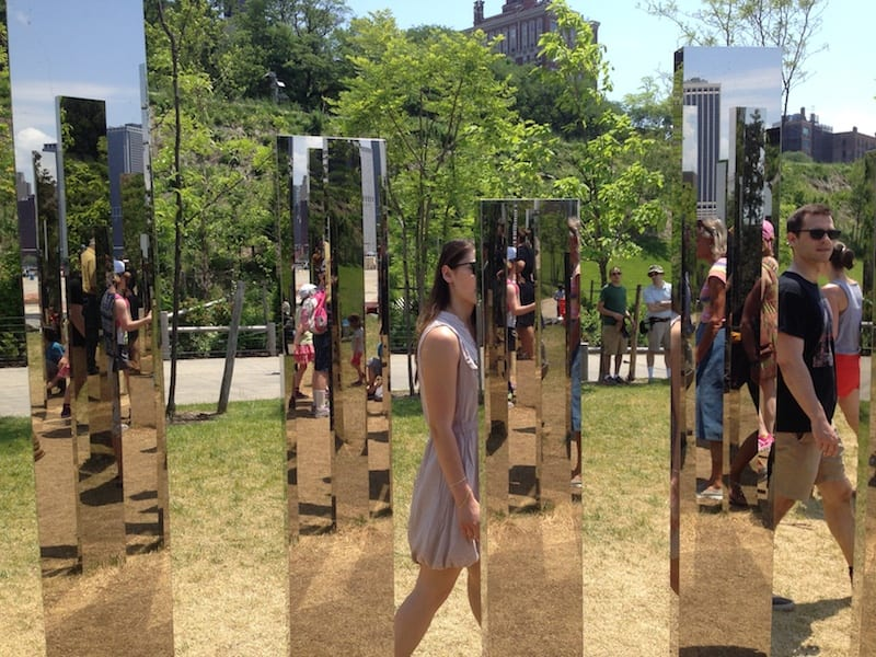 """Mirror Labyrinth"" by Jeppe Hein in Brooklyn Bridge Park, May 31, 2015"