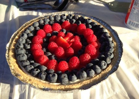 Patriot Fruit Tart with blueberries and raspberries