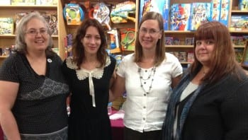 Kathleen March, Marie Rutkoski, Caragh O'Brien and Ann Aguirre at Anderson's Bookshop. Fierce!