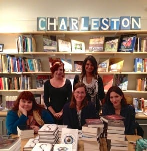 Bookseller Jessica, librarian Andria Amaral, Ann Aguirre, Caragh O'Brien and Marie Rutkoski at Blue Bicycle Books.