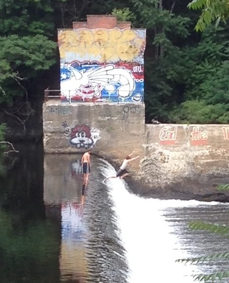 Jumpers at the Farmington River, CT, July 31, 2015