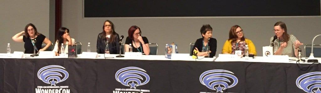 The panel in action: Cecil Castellucci, Aditi Khorana, Margaret Stohl, Victoria Schwab, Lisa Yee, Gretchen McNeil, and Caragh. Photo: Nicole Naito.