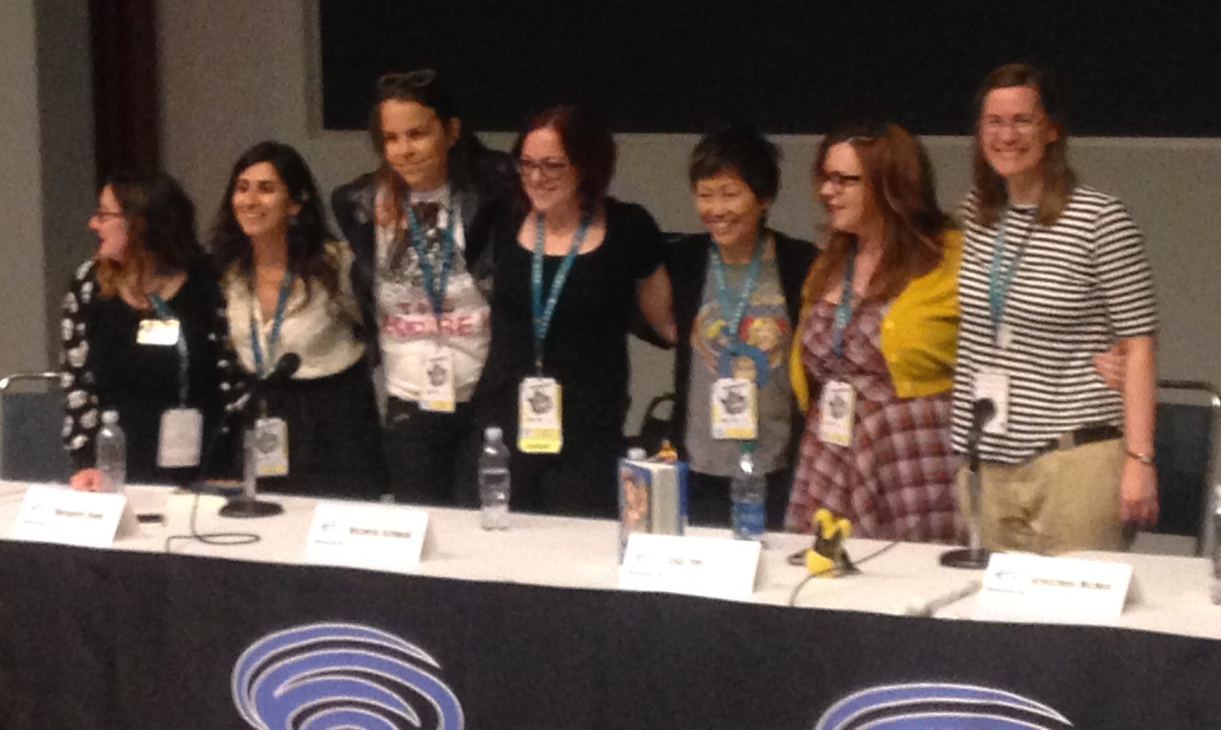 WonderCon Building Worlds with Words Panel, March 25. L to r: Cecil Castellucci, Aditi Khorana, Margaret Stohl, Victoria Schwab, Lisa Yee, Gretchen McNeil, and Caragh O'Brien