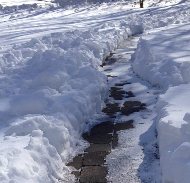 A shoveled path through the snow.