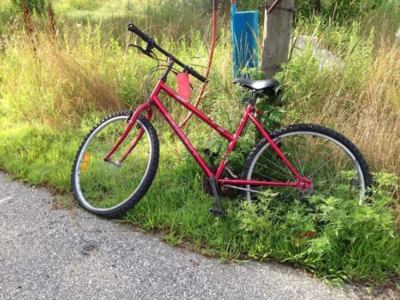 Red bicycle with grasses growing in the tires