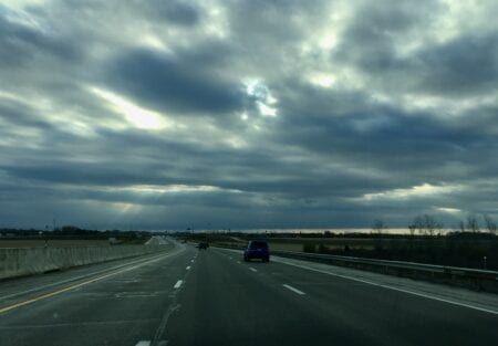 Low clouds over a freeway.